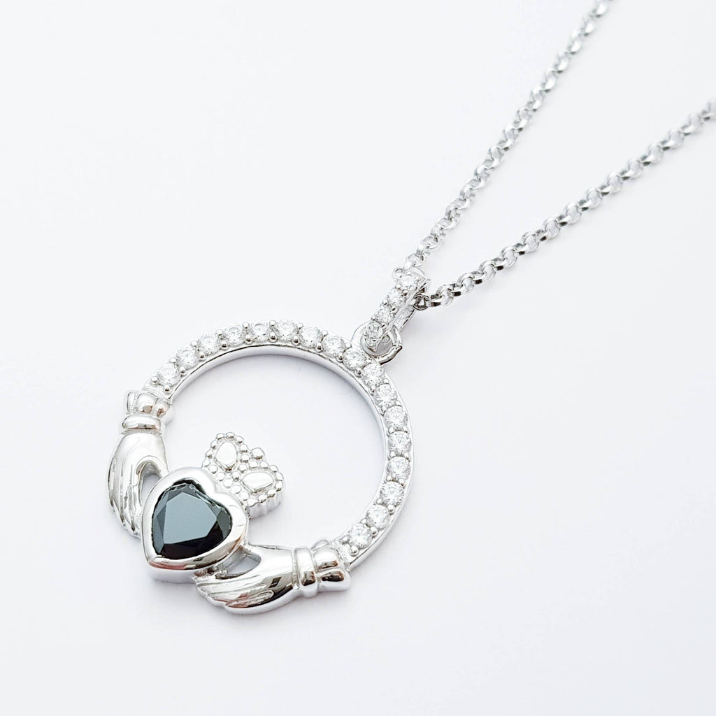 Silver Claddagh pendant, black stone Claddagh necklace  from Ireland