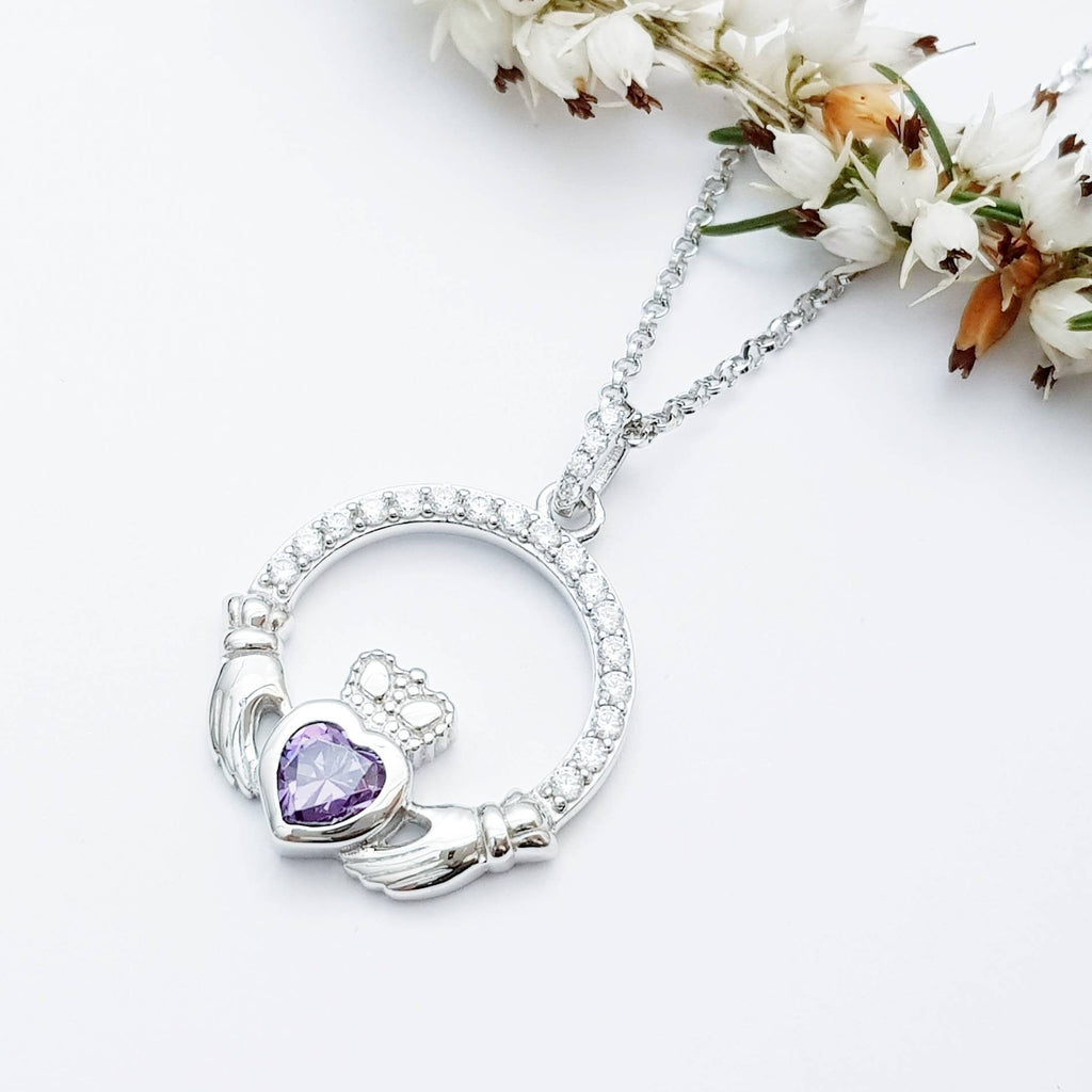 Claddagh necklace with purple February birthstone, Irish claddagh from Galway