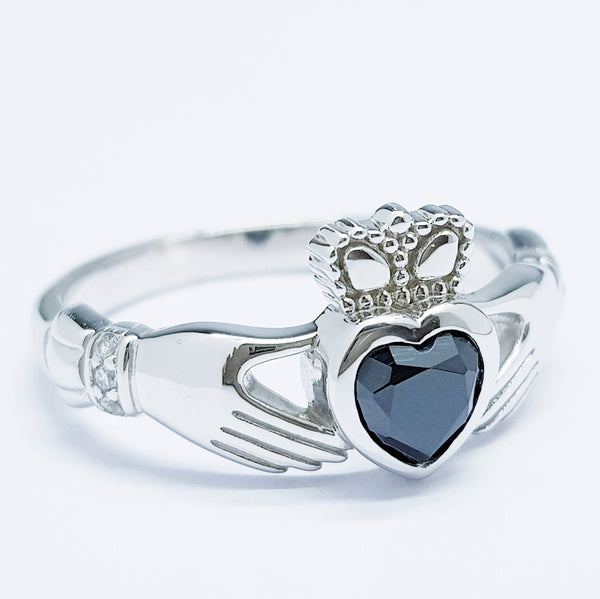 Irish Claddagh ring set with black stone, silver claddagh rings