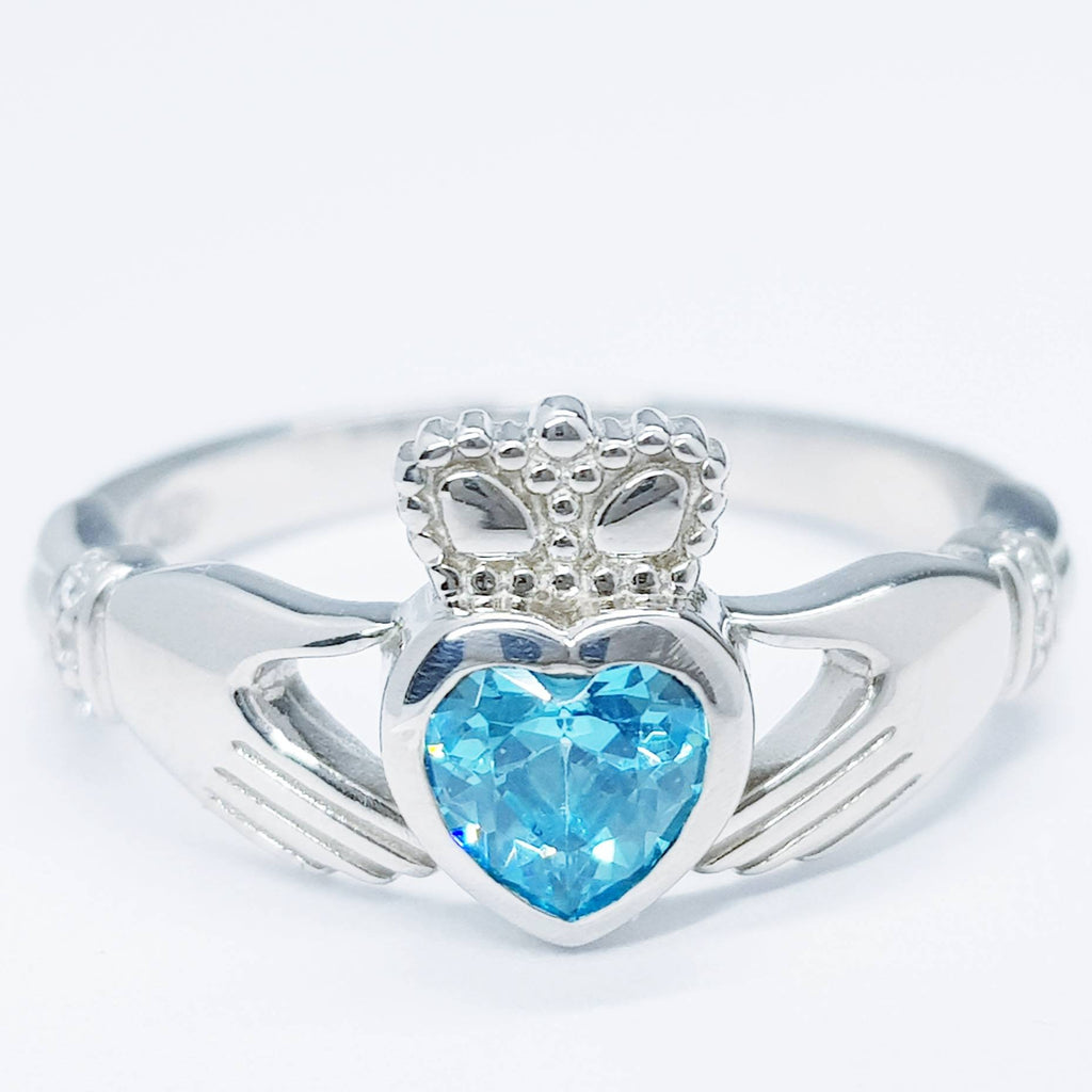 Sterling Silver Claddagh ring set with aquamarine heart shaped stone, Irish claddagh rings