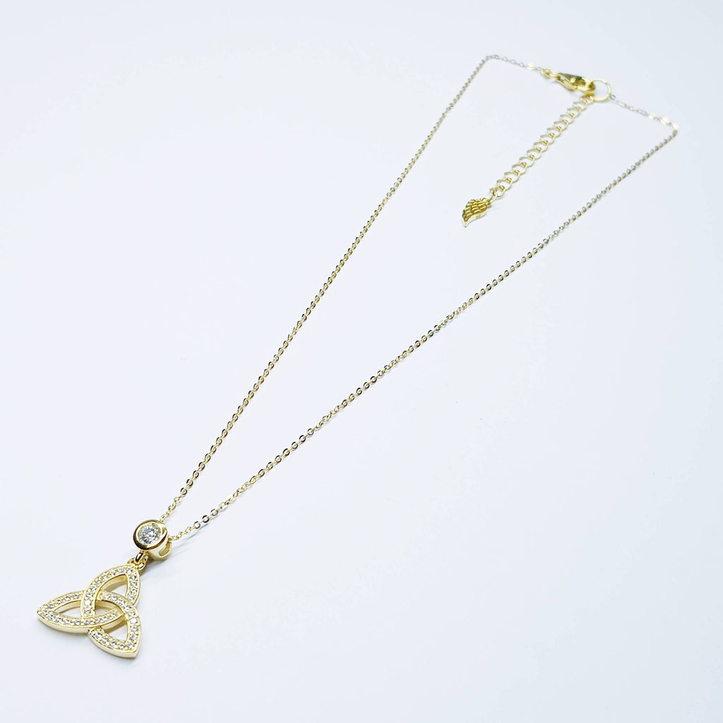Irish Trinity knot necklace, angel wing necklace made in Ireland