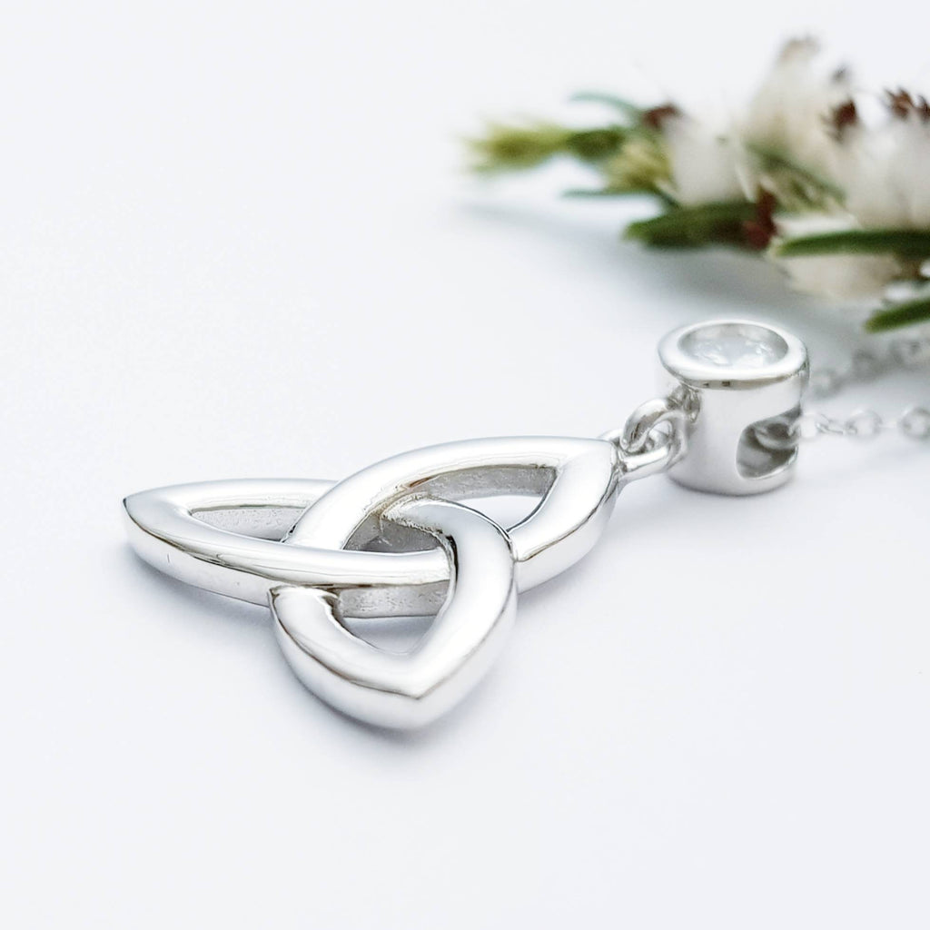 Trinity knot pendant, celtic necklace made in Ireland, celtic angel wing chain