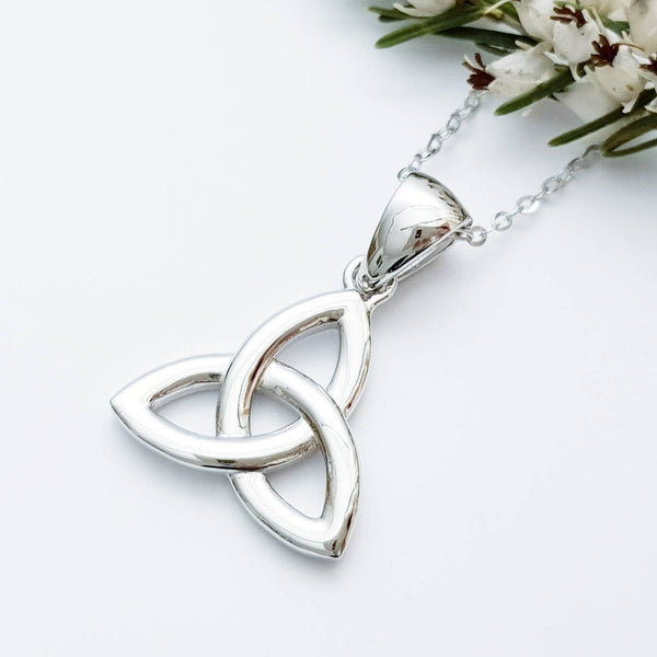 Classic Trinity knot celtic pendant, sterling silver celtic necklace made in Ireland, angel wing chain, triquetra necklace
