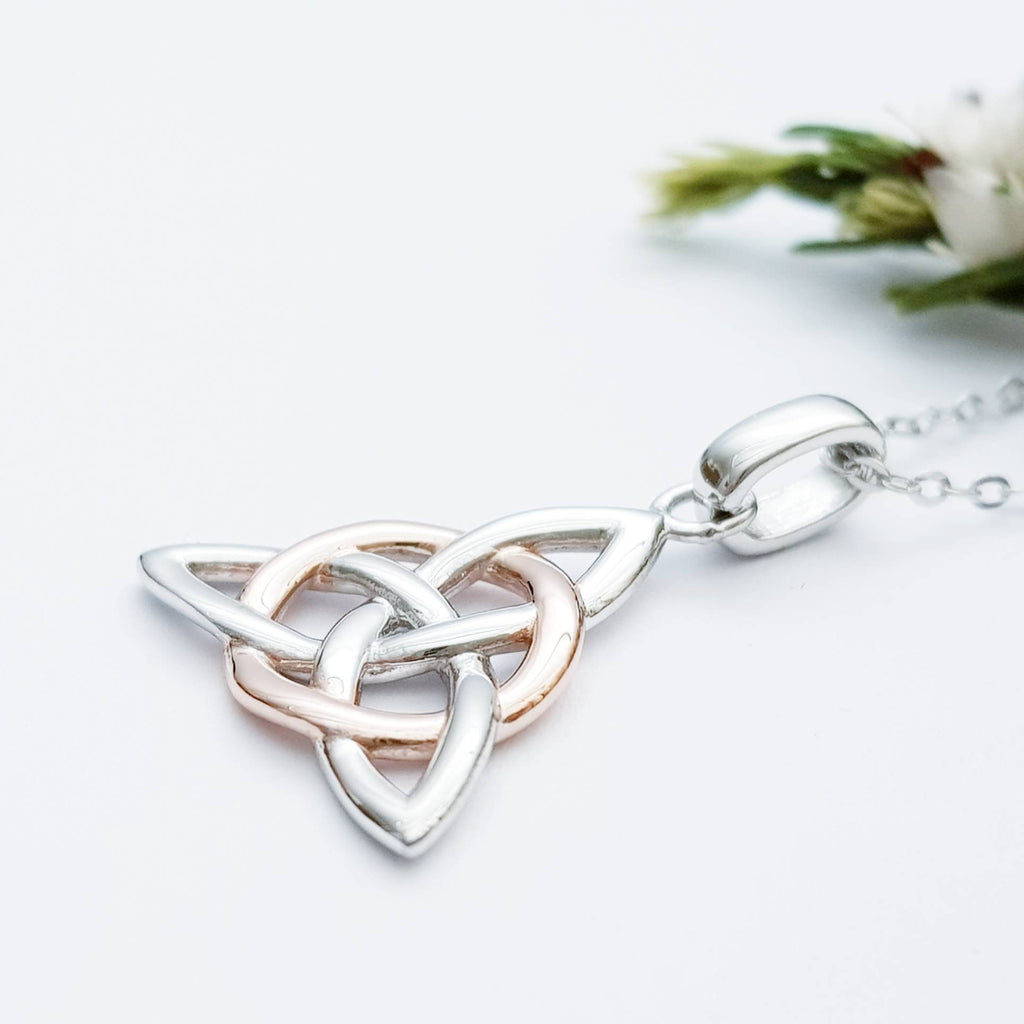 Celtic knot pendant, rose gold plated Celtic triquetra necklace, Celtic jewelry made in Ireland