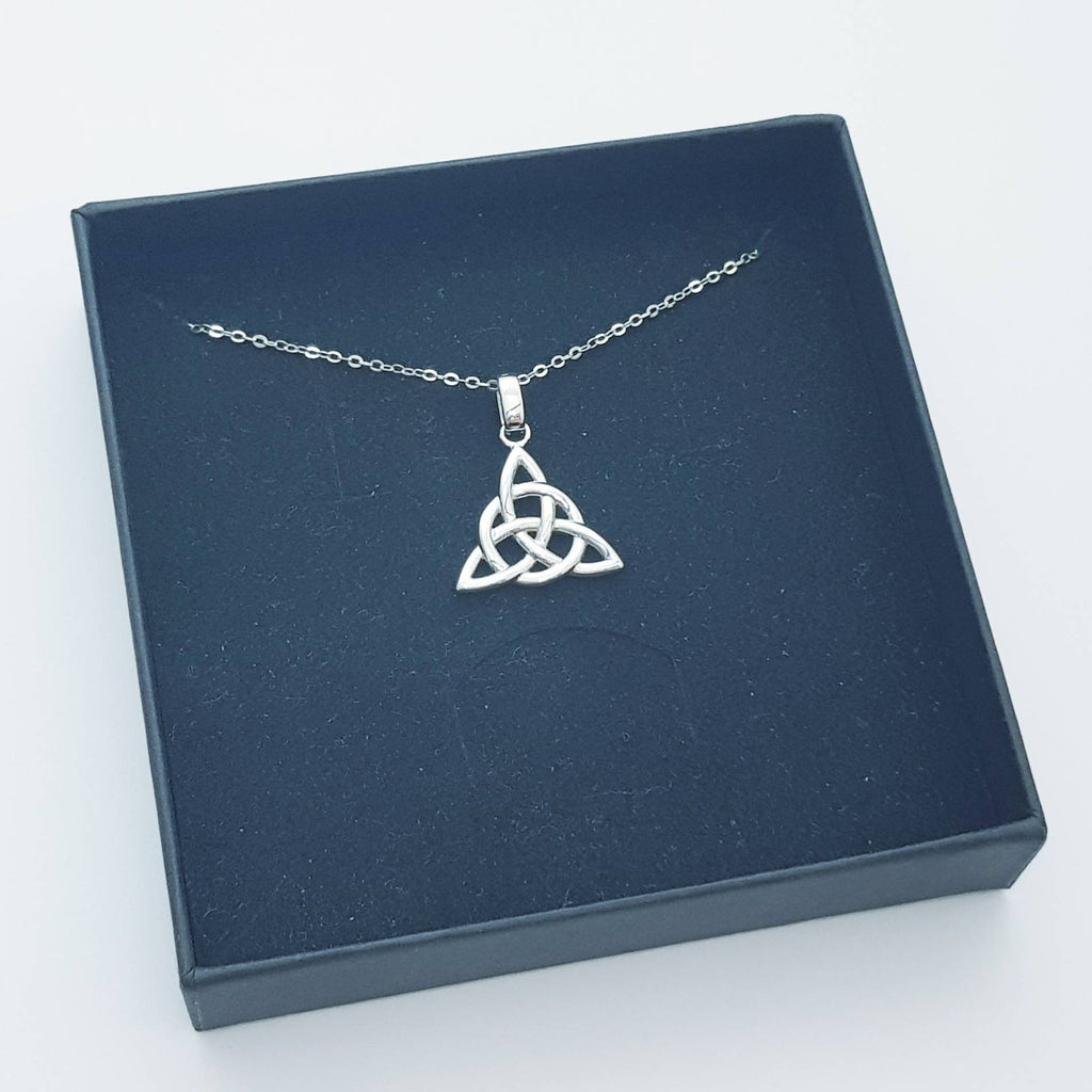 Double sided celtic knot pendant, silver triquetra celtic necklace made in Ireland with angel wing chain