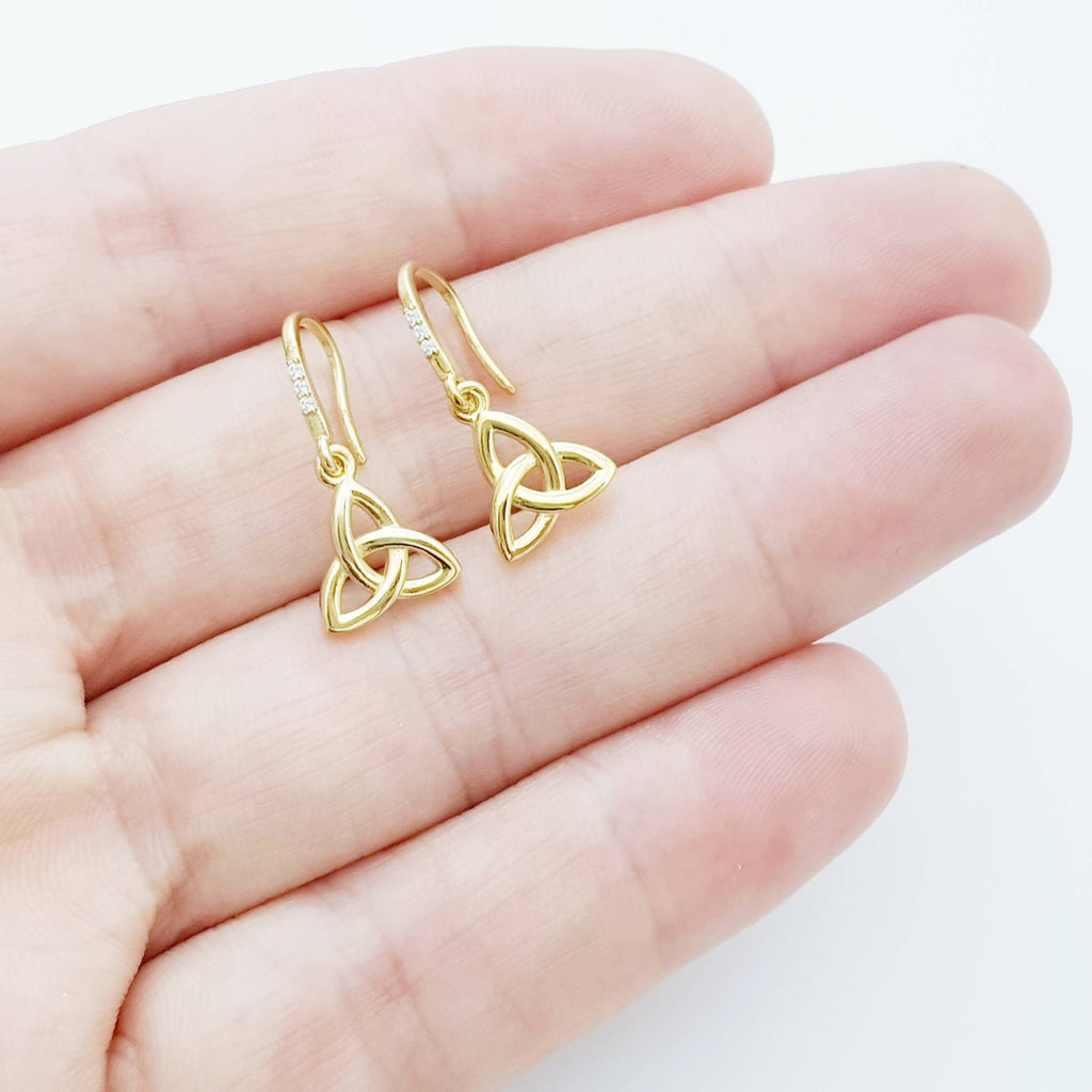 Dainty Celtic drop Earrings, trinity knot French wire earrings, gold plated Celtic earrings