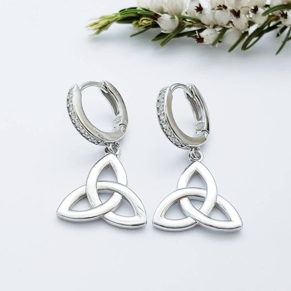 Celtic huggie Earrings, trinity knot drop earrings, silver Celtic jewelry, triquetra earrings, celtic dangle earrings