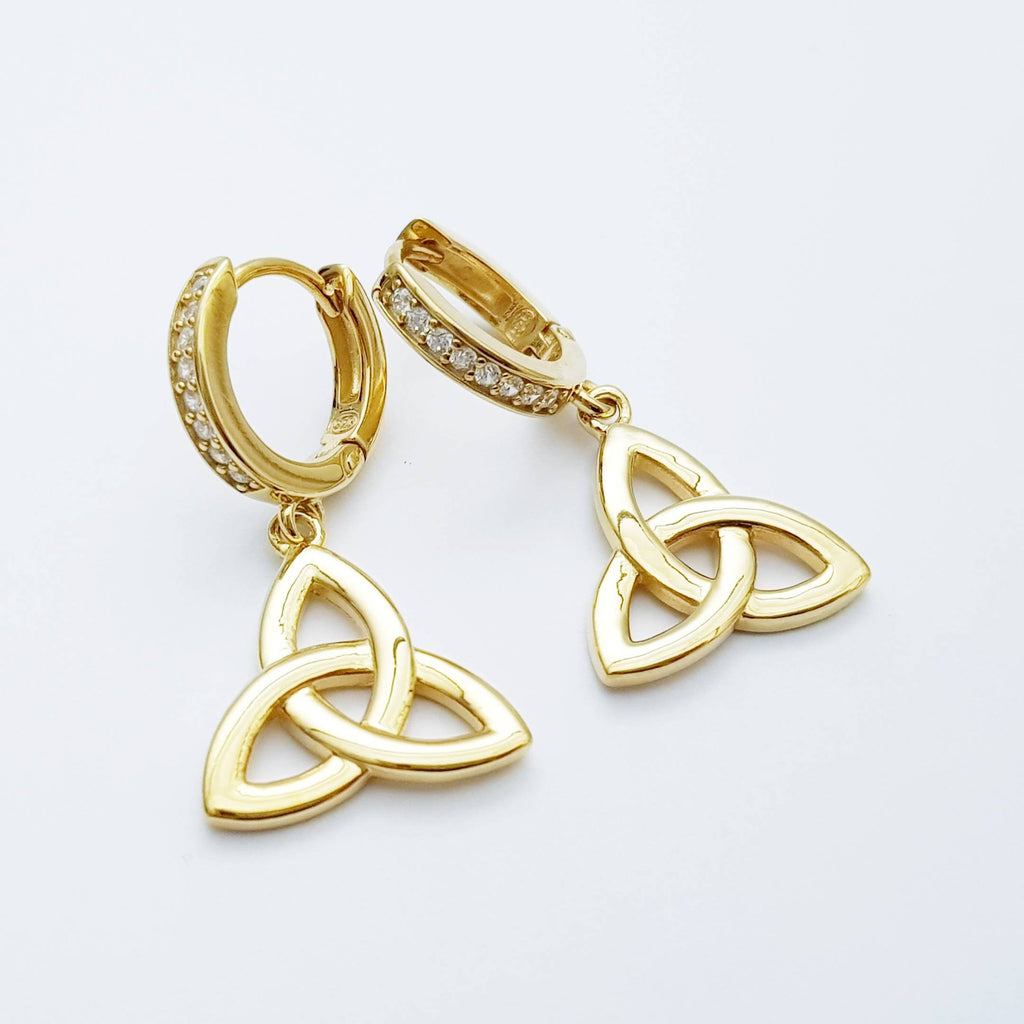 Celtic huggie Earrings, trinity knot hoop earrings, gold Celtic jewelry, celtic drop earrings