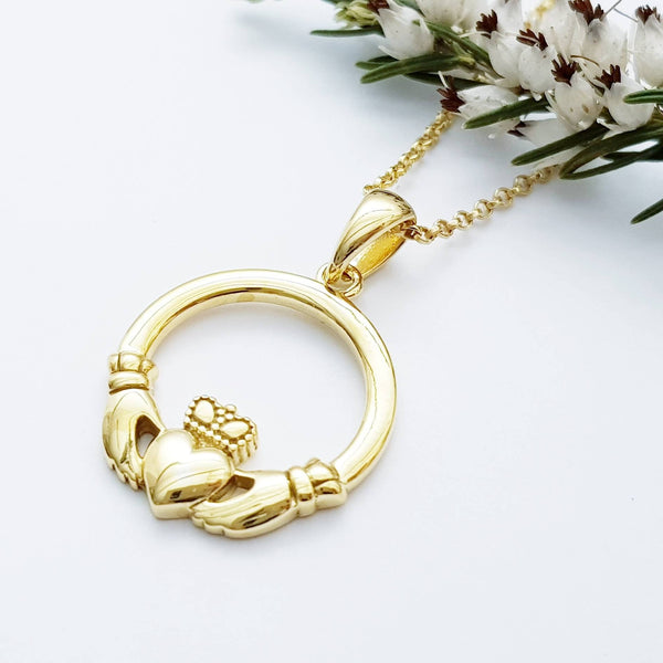 Gold Claddagh pendant, Irish claddagh necklace from Galway, Ireland, claddagh celtic pendant