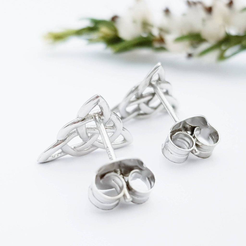 Small sterling silver Celtic knot Earrings, triquetra celtic studs