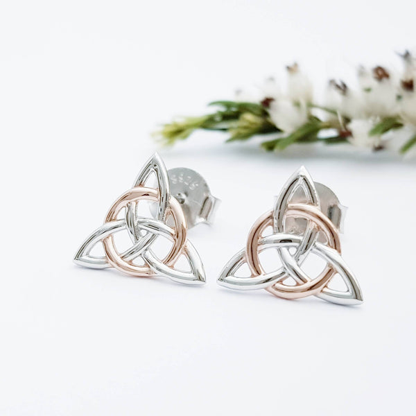 Small Celtic stud Earrings in silver with rose gold plating, triquetra earrings