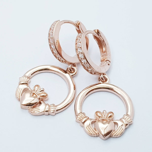 Rose gold hoop Claddagh Earrings, Silver and Rose gold Claddagh Earrings, Claddagh drop Earrings