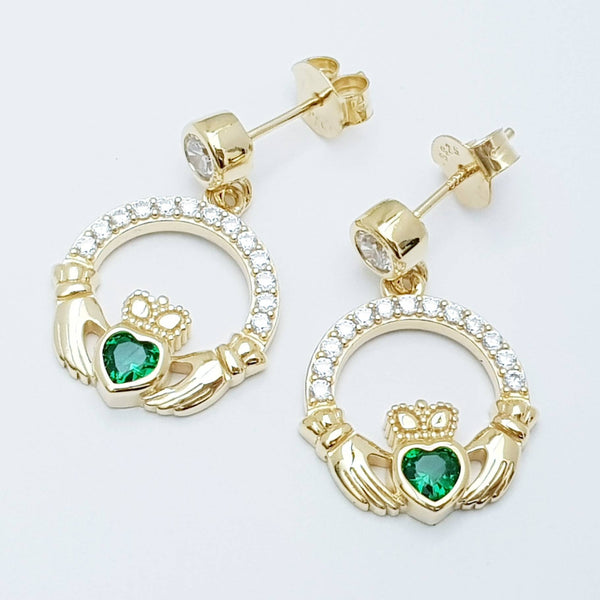 Emerald green claddagh Earrings, Silver and yellow gold Claddagh Earrings, Claddagh drop Earrings