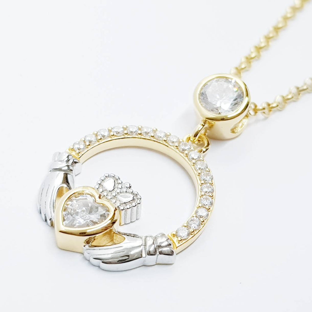 925 Silver Claddagh pendant, Irish claddagh necklace from Galway, silver and yellow gold claddagh pendant