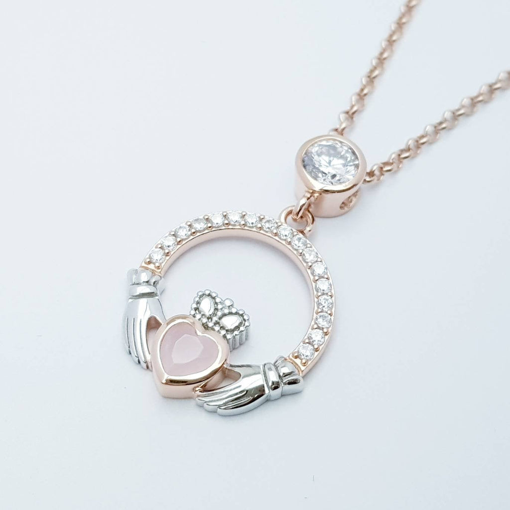 Baby pink Claddagh pendant, Irish claddagh necklace from Galway, Ireland, silver and rose gold claddagh pendant