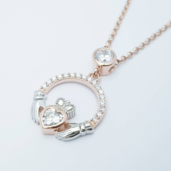 Sterling silver rose gold claddagh necklace, irish necklace with rose gold plating