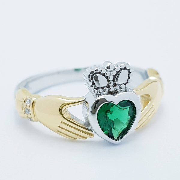 Sterling Silver Gold plated Claddagh ring set with emerald green stone, irish claddagh rings
