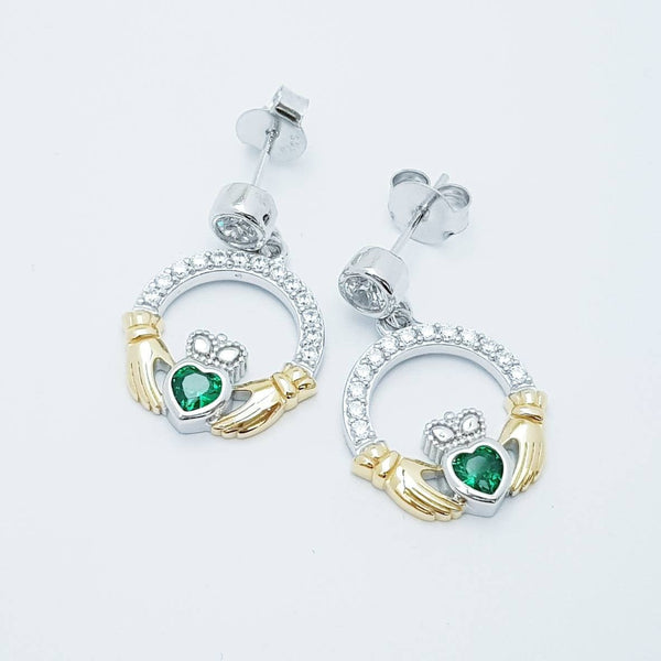 Emerald green claddagh Earrings, Silver and yellow gold Claddagh Earrings, drop and dangle claddagh Earrings