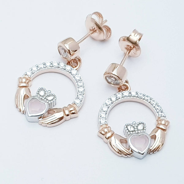 Baby pink claddagh Earrings, Silver and rose gold Claddagh Earrings, Claddagh drop Earrings