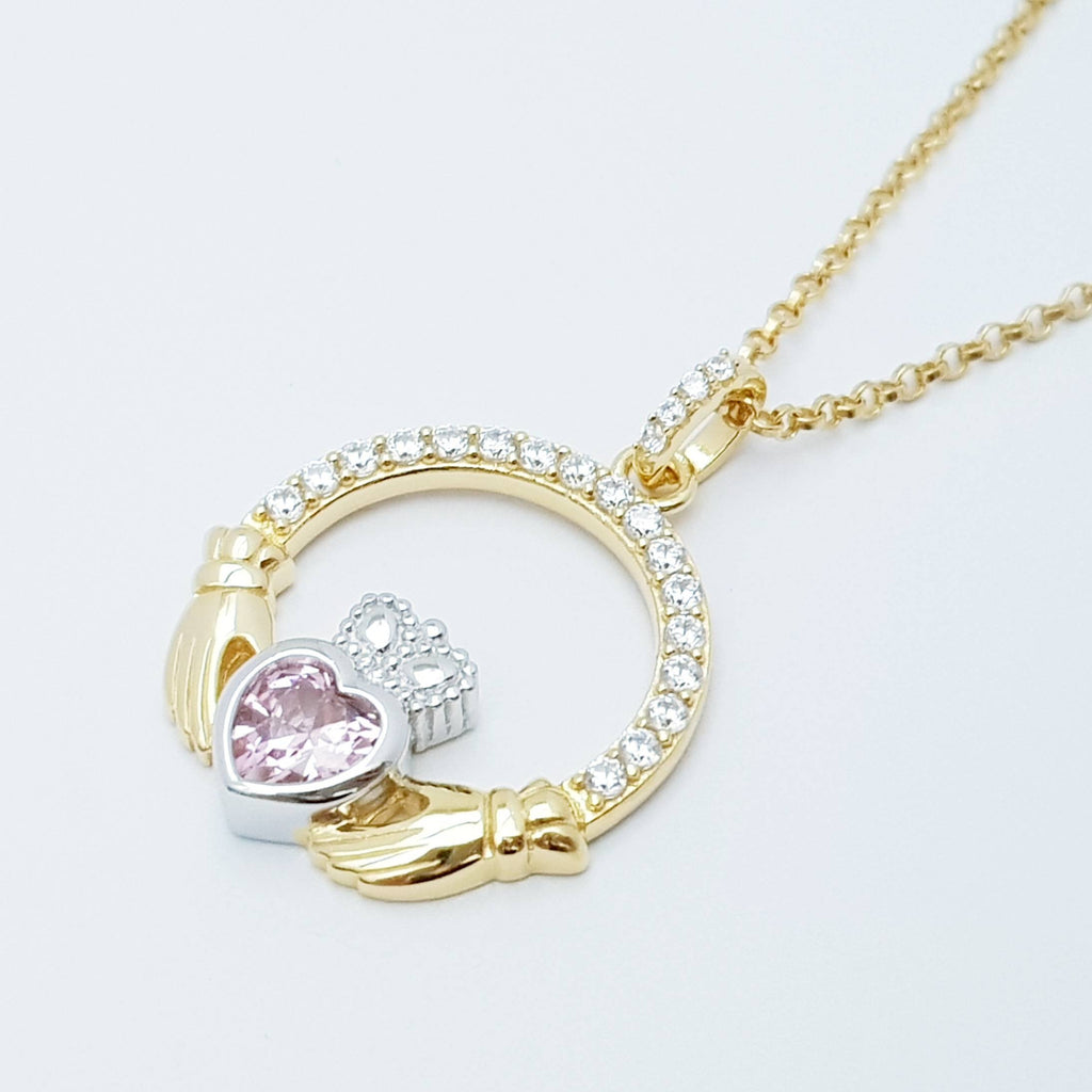 Pink Claddagh pendant, Irish claddagh necklace from Galway, Ireland, silver and gold claddagh pendant