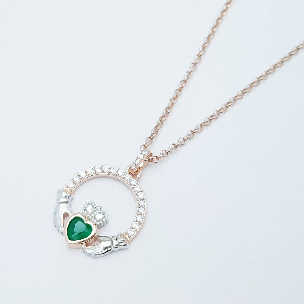 Green Claddagh pendant, two tone claddagh necklace from Galway, Ireland, silver and rose gold claddagh pendant