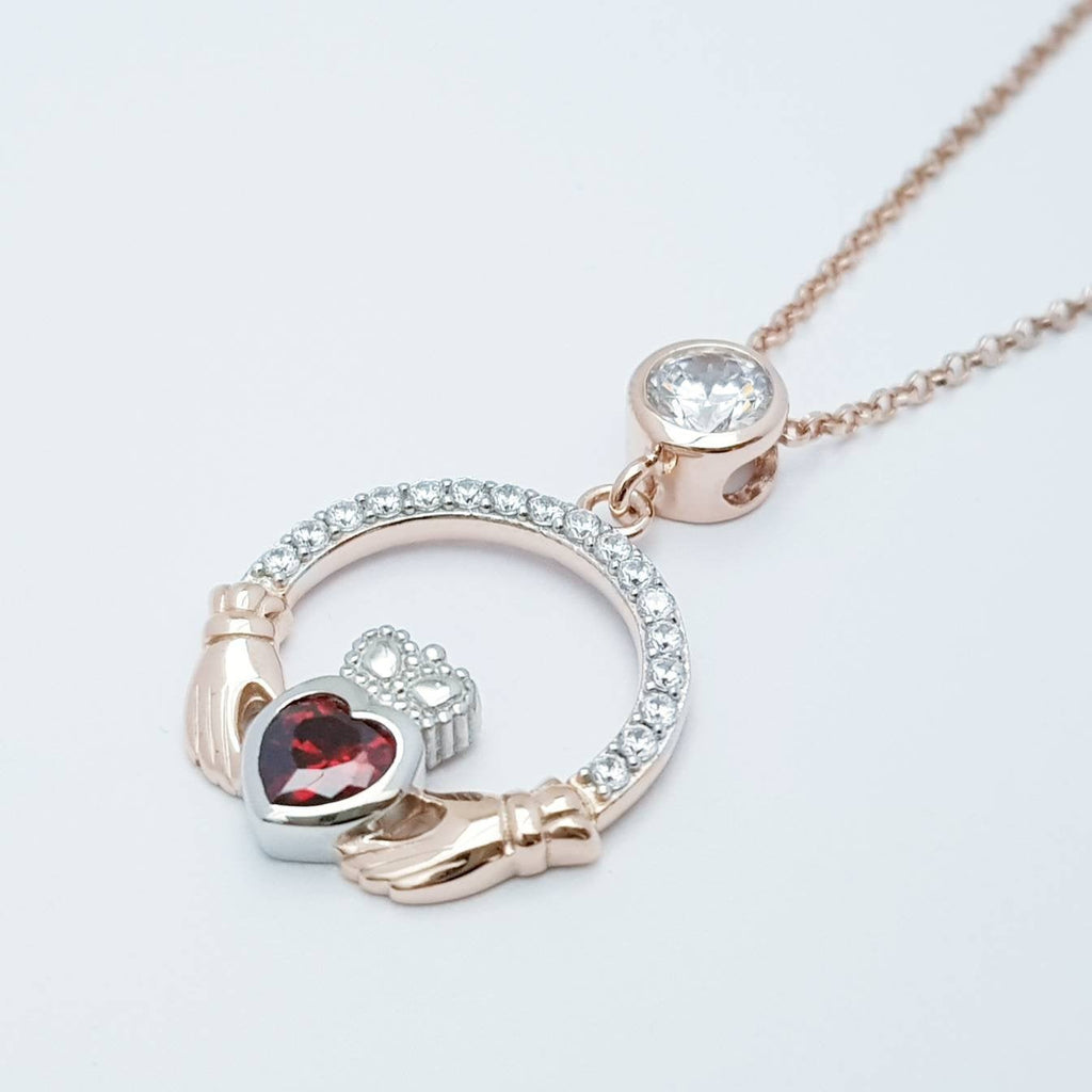 Red Claddagh pendant, two tone claddagh necklace from Galway, Ireland, silver and rose gold claddagh pendant