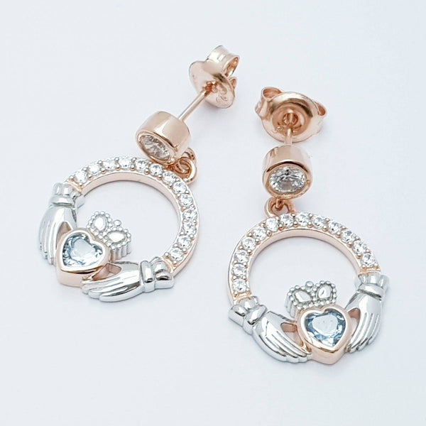 Aquamarine claddagh Earrings, Silver and rose gold Claddagh Earrings, Claddagh drop Earrings