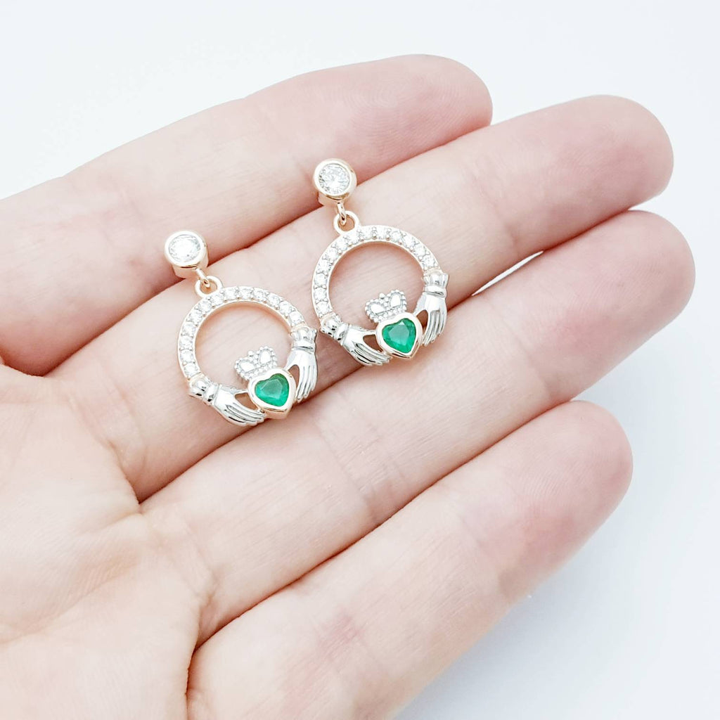 Emerald green claddagh Earrings, Silver and rose gold Claddagh Earrings, Claddagh drop Earrings