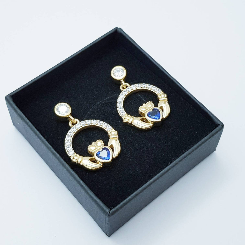 Sapphire blue claddagh Earrings, Silver and yellow gold Claddagh Earrings, Claddagh drop Earrings