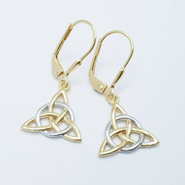 Silver Celtic knot Earrings, Irish Earrings, two tone Celtic Earrings, trilateral earrings