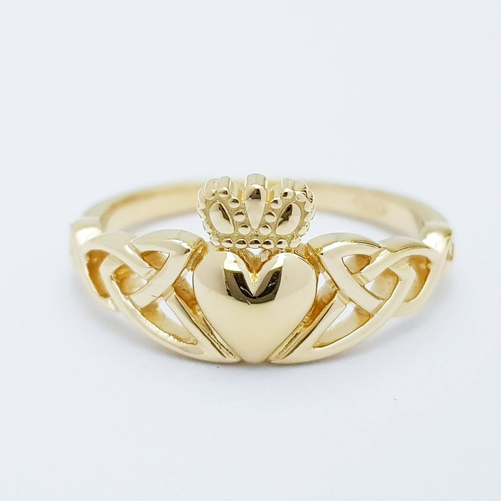 Sterling Silver Claddagh ring, Gold celtic Knot Claddagh Ring, Irish Clatter Ring