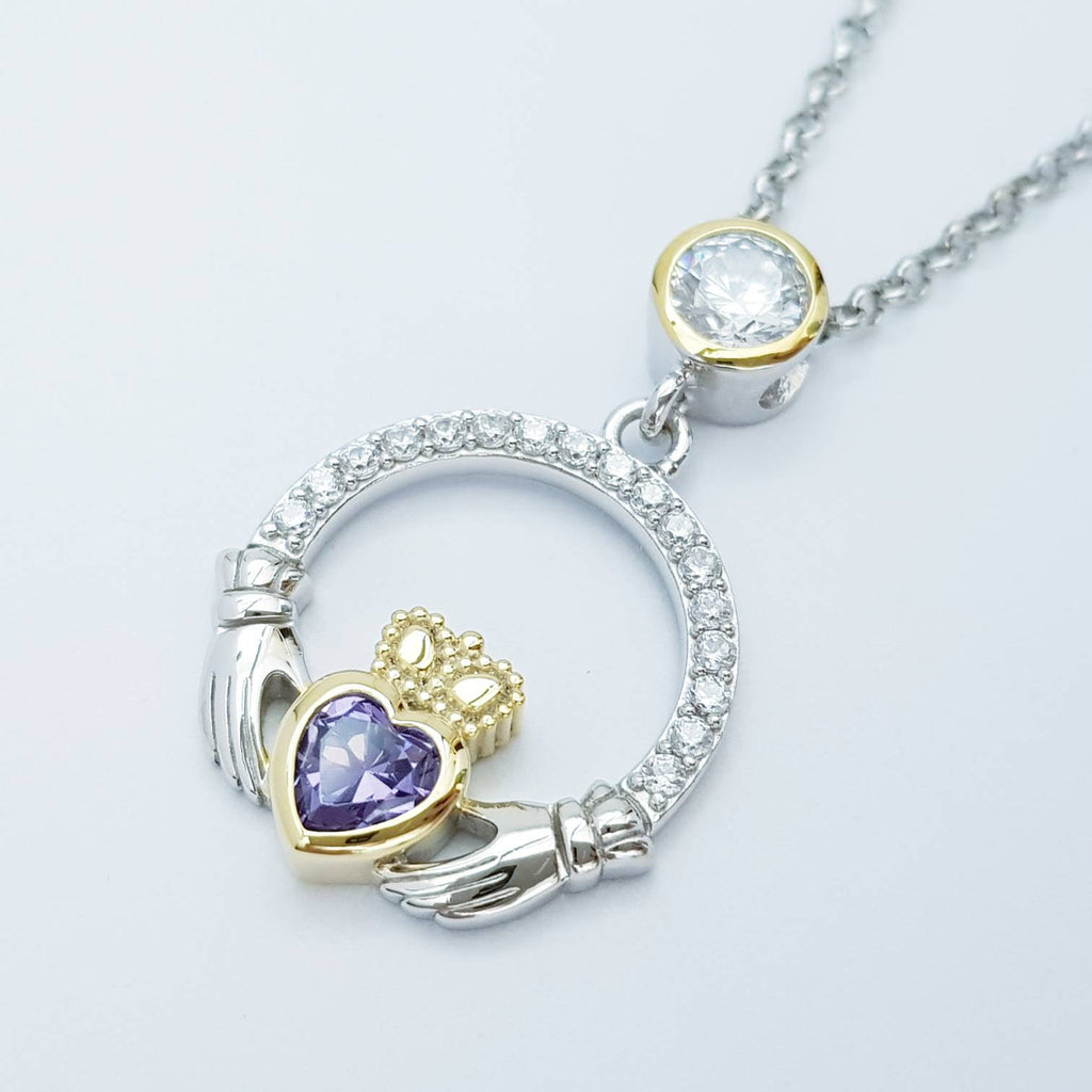 Purple Claddagh pendant, claddagh necklace, silver claddagh pendant February birthstone