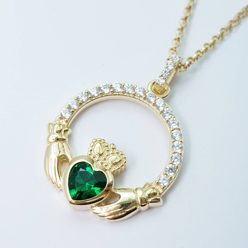 Green Claddagh pendant, claddagh necklace, yellow gold claddagh pendant