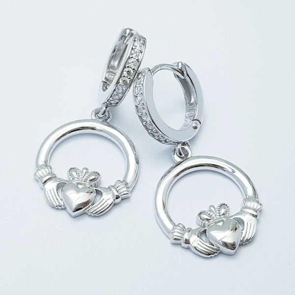 Silver hoop Claddagh Earrings, lever back Claddagh Earrings, Claddagh drop Earrings