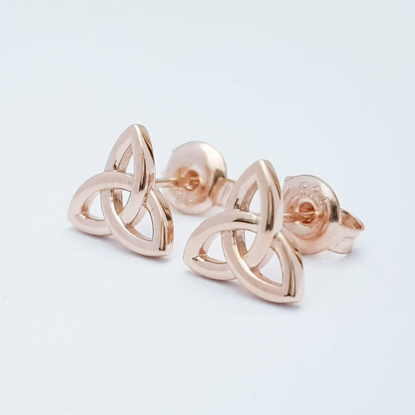 Minimal Celtic knot Earrings, rose gold Celtic studs, trinity knot stud earrings