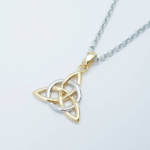 Sterling Silver Celtic Pendant, Double sided celtic necklace, triquetra pendant