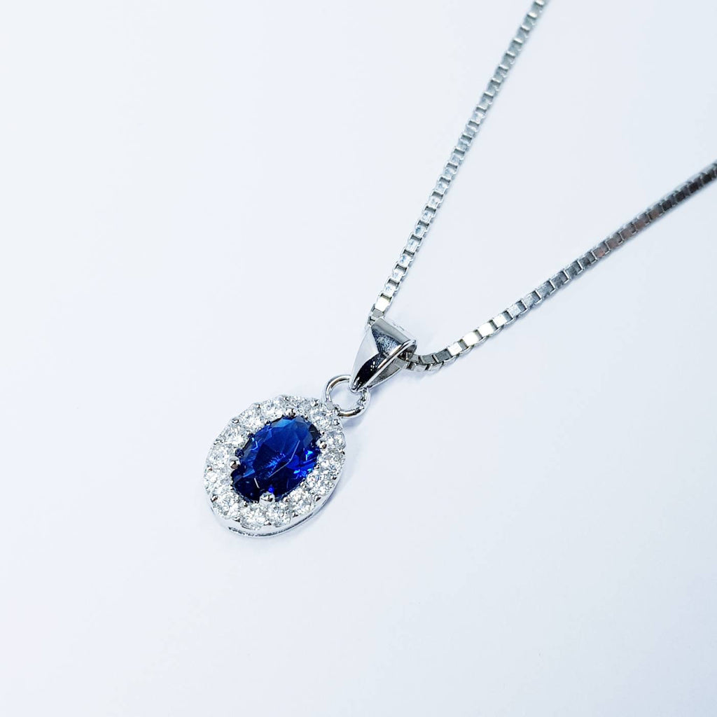 Royal Blue Sapphire necklace, oval blue pendant, dainty Jewelry, September bithstone, sapphire cluster necklace