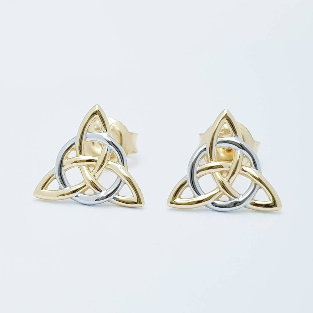 Small Celtic stud Earrings in silver with yellow gold plating, triquetra stud earrings