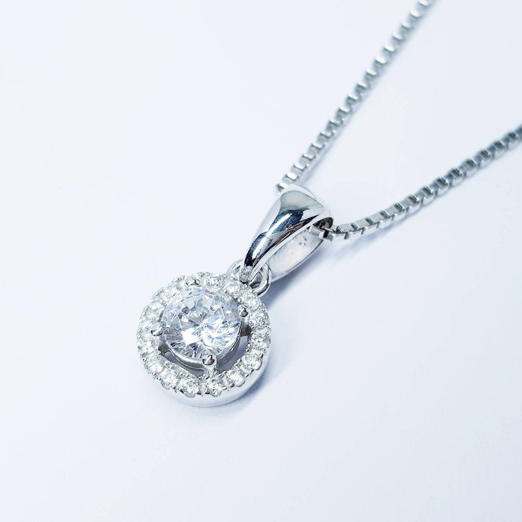 Dainty sterling silver necklace, small white diamond simulant pendant, Vintage necklace, small oval pendant