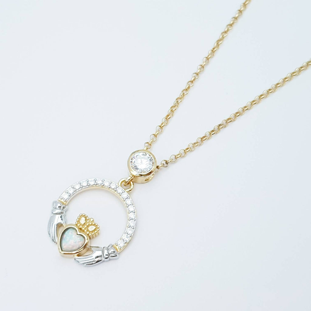 Opal Claddagh pendant, claddagh necklace, yellow gold claddagh pendant October birthstone