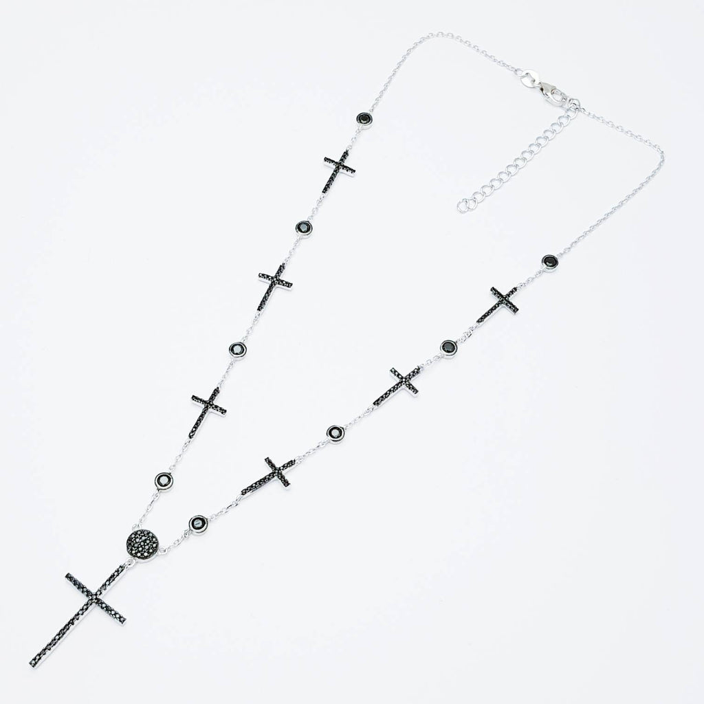 Sterling Silver Cross,  black Cross , delicate Cross, Black Diamond Cross, dark romance