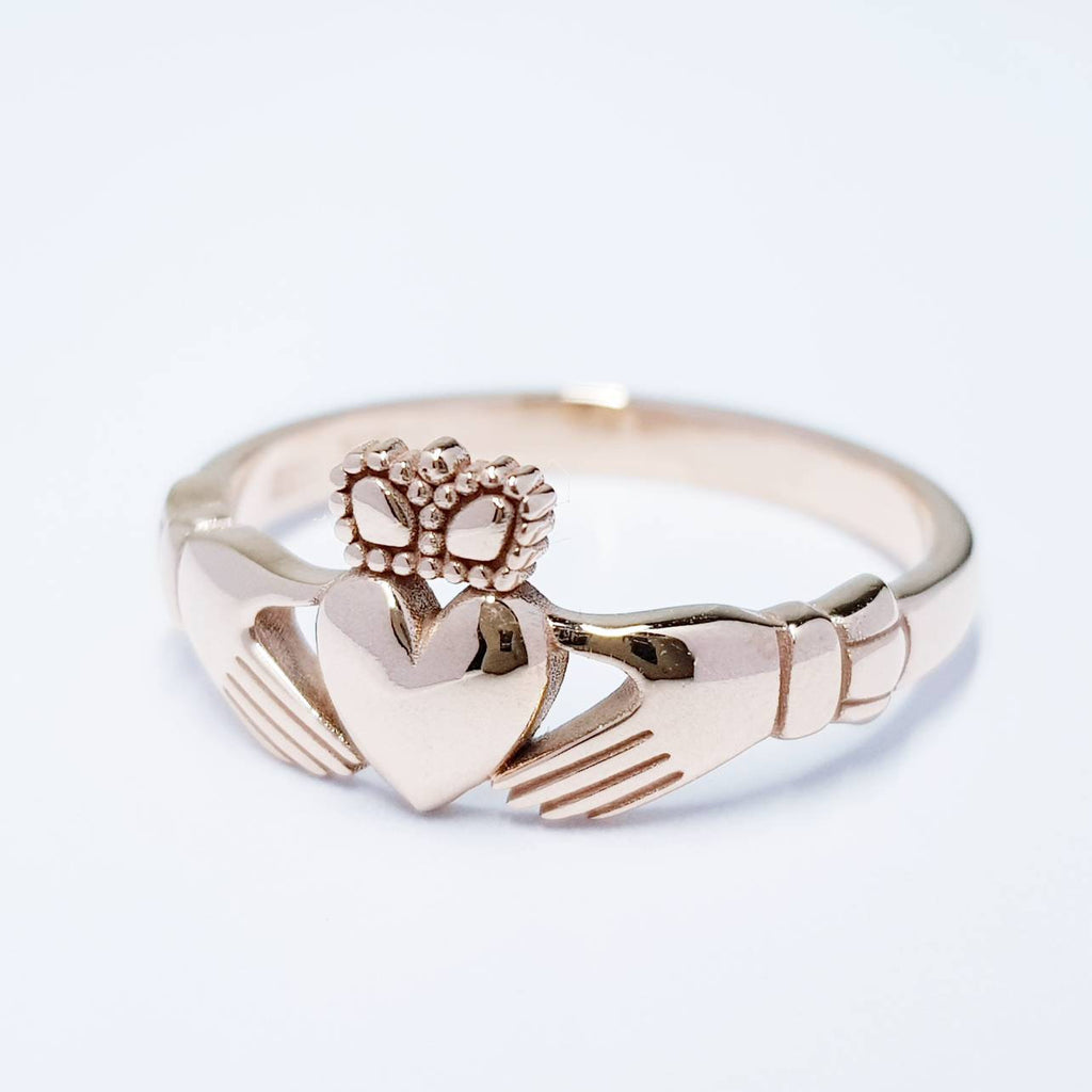 Rose Gold Claddagh Ring, Dainty Gold Claddagh, Irish Ring, Made in Ireland