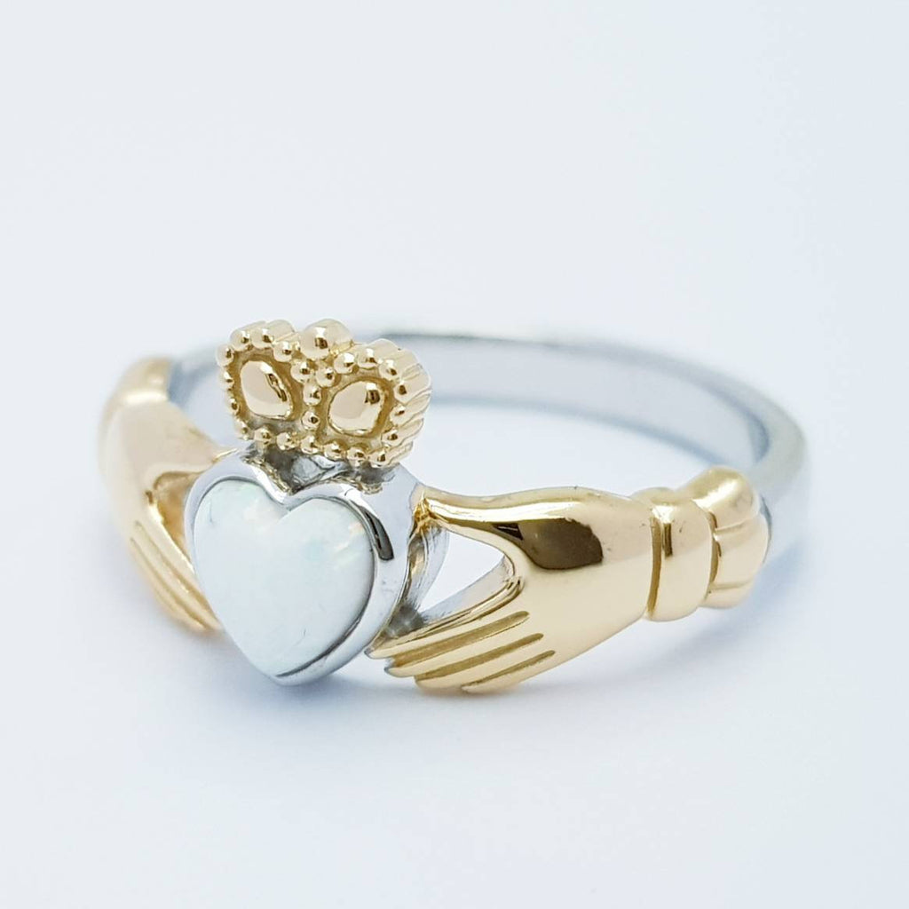 Sterling Silver yellow gold plated Claddagh ring set with opal stone, October birthstone