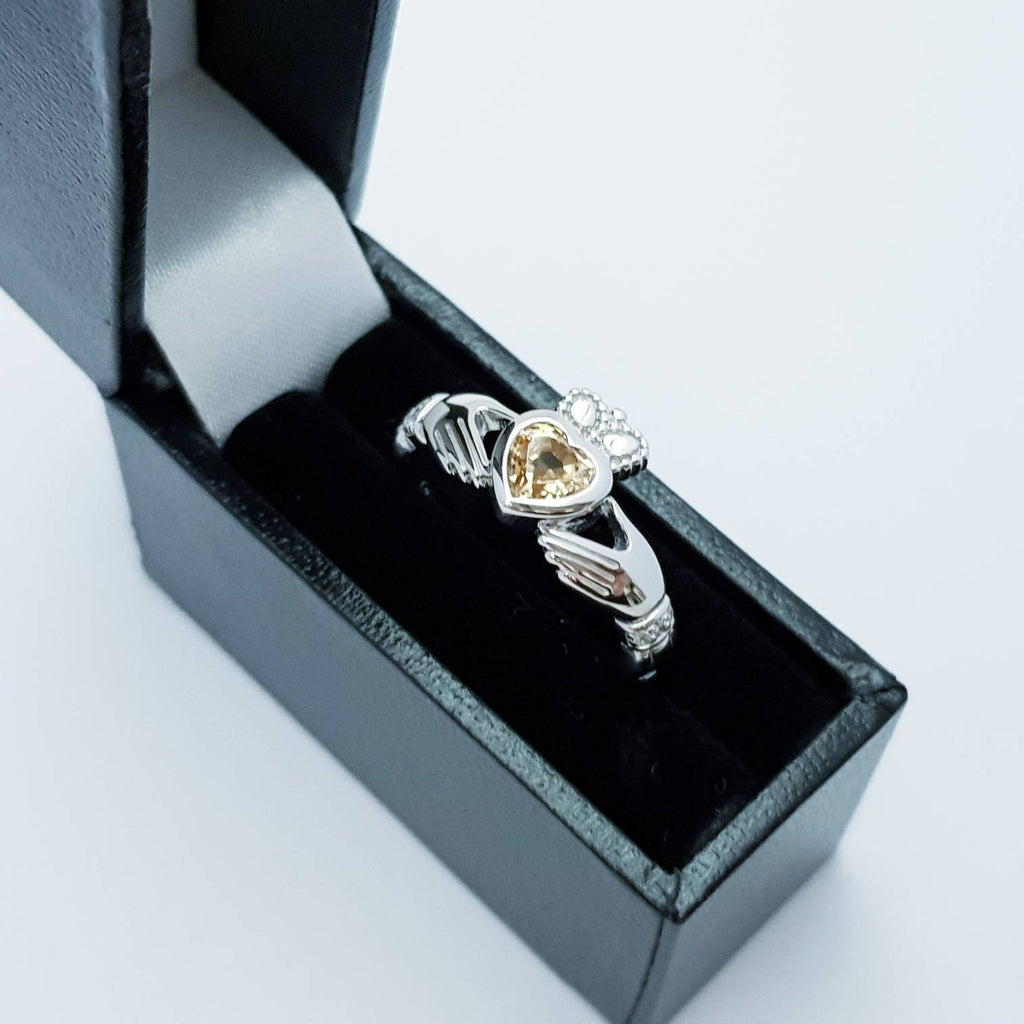 Sterling Silver Claddagh ring set with champagne citrine stone, November birthstone