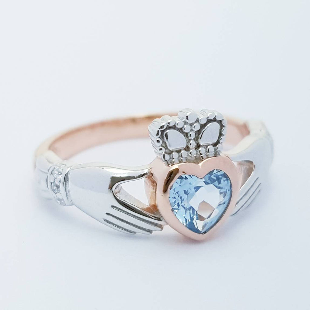 Sterling Silver Rose Gold plated Claddagh ring set with aquamarine stone, unique claddagh ring