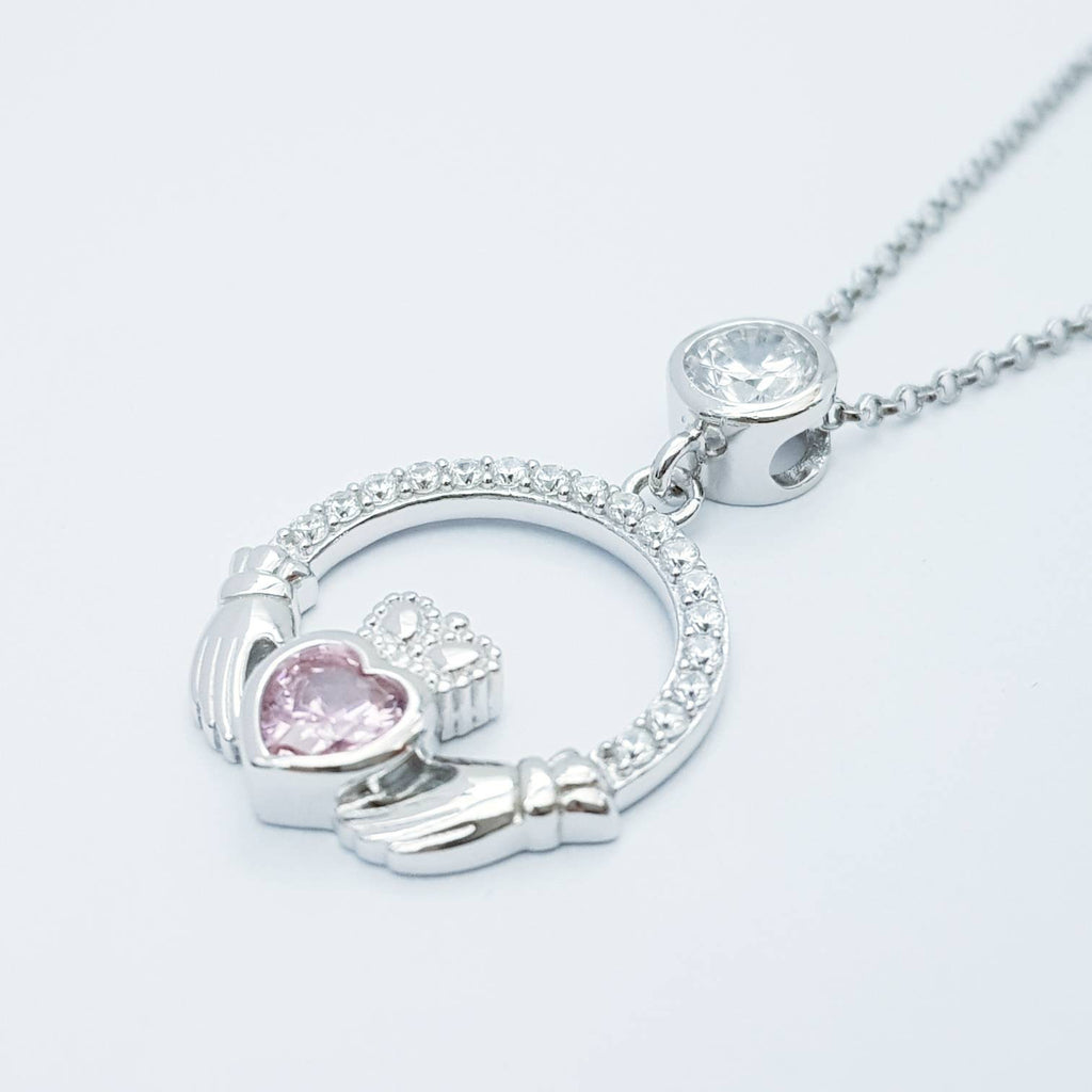 Pink Claddagh pendant, claddagh necklace, silver claddagh pendant with October birthstone