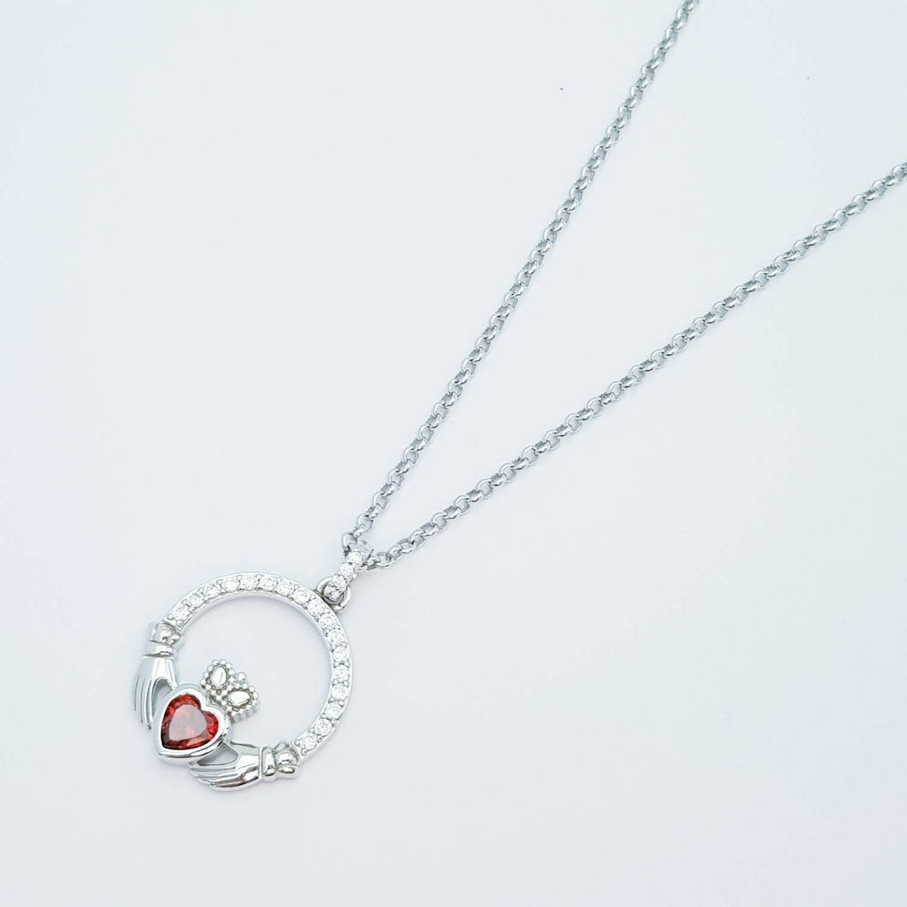 Sterling silver claddagh necklace  with red garnet heart shaped stone, January birthstone