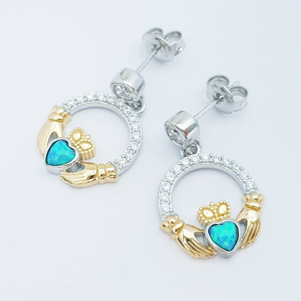 Opal claddagh Earrings, Silver Claddagh Earrings, October birthstone