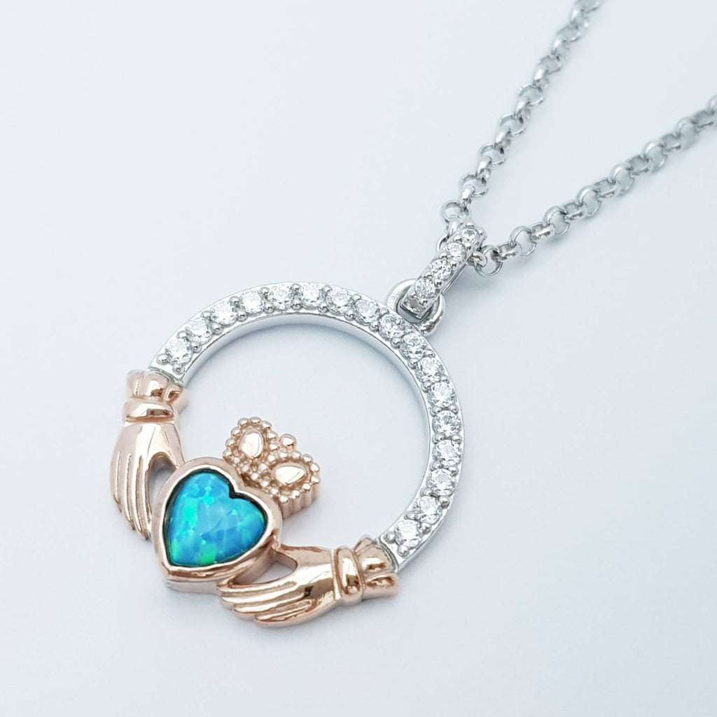 Opal Claddagh pendant, claddagh necklace, rose gold claddagh pendant October birthstone