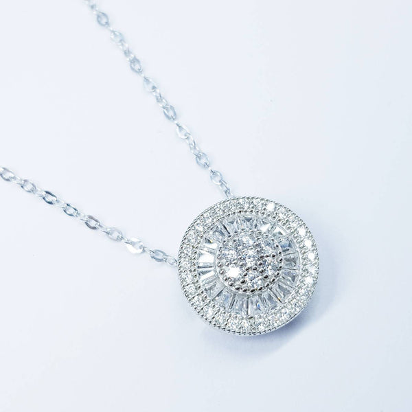 Vintage style round necklace floating on sterling silver chain